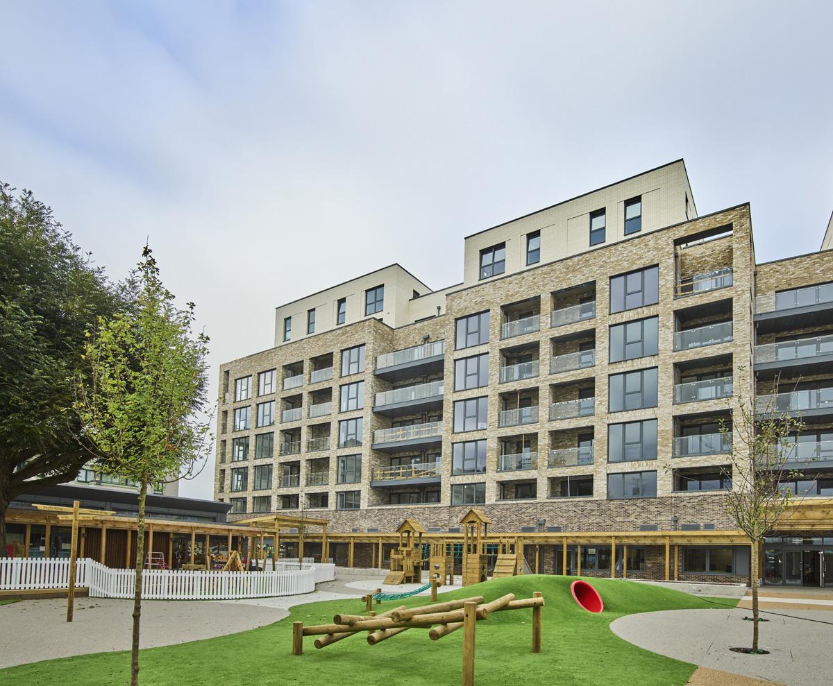 Bow Garden Square apartments, primary school, school playground